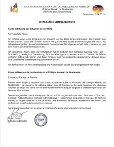 Notificación Breve Aclaración - Kurze Erklärung DSG